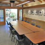 The Tateuchi Room in the gatehouse complex, named for lead donor, the Tateuchi Foundation. The room is used for community meetings and can also be rented for private events.