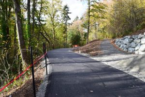 Completed paving on the Arboretum Loop Trail, heading from the Gateway to Chile to the Birch Parking Lot.